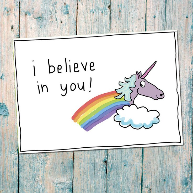 A positive postcard featuring a unicorn and rainbow with the phrase, 'I believe in you'A fun unicorn postcard is great for a little good luck note to anyone who may need it - especially teenages during exam time! This postcard is one of the postcards in the 'positive postcards' series. Others include, 'You're the cat's whiskers' and 'the world is your Oyster - Tabasco?' The back is blank, perfect for your own personal message. All the images on this card were hand-drawn and printed on…