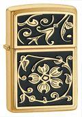 Zippo Gold Floral Flush Emblem Brushed Brass Lighter #elighters #zippo #floral #vintage #lighter #brass @Zippo