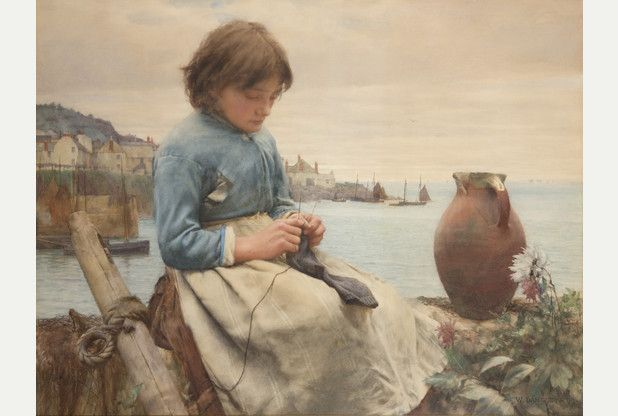 knitting; Walter Langley set in Mousehole harbour, Penzance.