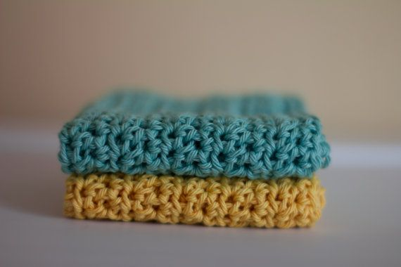 Aqua and Yellow Cotton Dish Cloths knit face by PreciousLambKnits