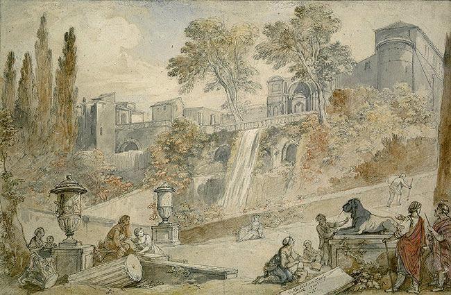Charles Natoire -Giardini di Villa d'Este, Tivoli / Gardens of the Villa d'Este at Tivoli