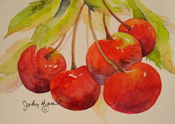 red orange cherries greeting card original watercolor painting small format