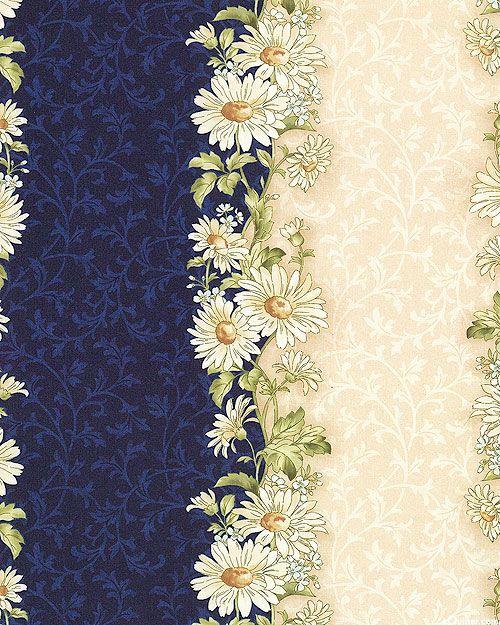Gentle Breeze - Daisy Garland Stripe - Midnight Blue