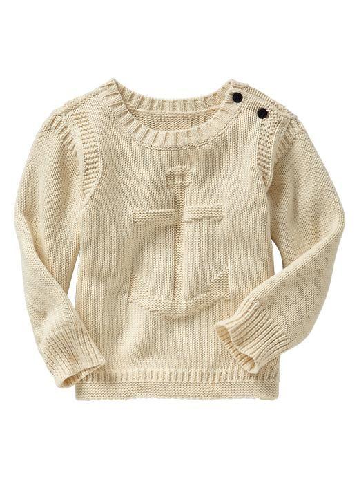 Baby Gap 2014 Anchor Crew Sweater in French Vanilla