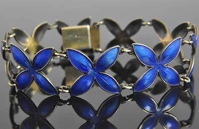 Hroar Prydz Vintage Sterling Silver Blue Enamel Flower Link Bracelet Norway