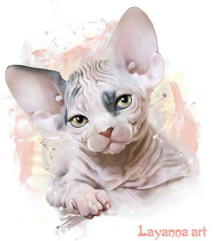 """Нарисованный портрет котенка породы Канадский Сфинкс. С этим рисунком можно заказать футболки и майки. Принт называется """"очаровашка"""""""