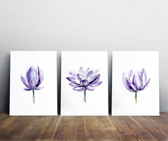 Purple Lotus Watercolor Painting  Lotus Art  Giclee Print