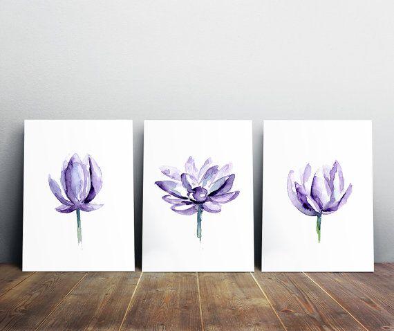 lotus  schilderij  set van 3 prints  lila paars  door Zendrawing