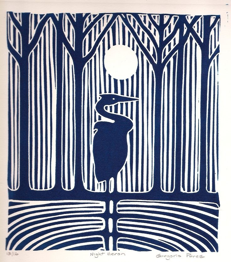 Night Heron – linocut print- gregorioperez. Amazing how much you can do with just one colour and the white of the paper.
