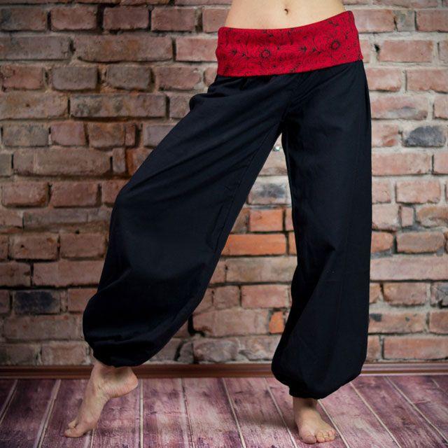 Thao - Kalhoty Ornament černé s červenou