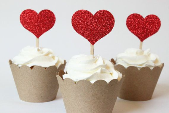 Red Glitter Heart Cupcake Toppers Red Glitter by WhenItRainsShop, $12.00