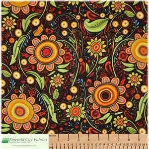 Kitchen Curtain Fabric Black Orange Paisley Fabric