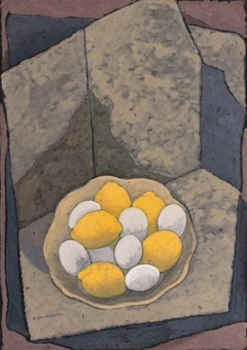 Felice Casorati, UOVA E LIMONI, tempera on paper mounted on canvas, 50 x 35.2 cm, 1962