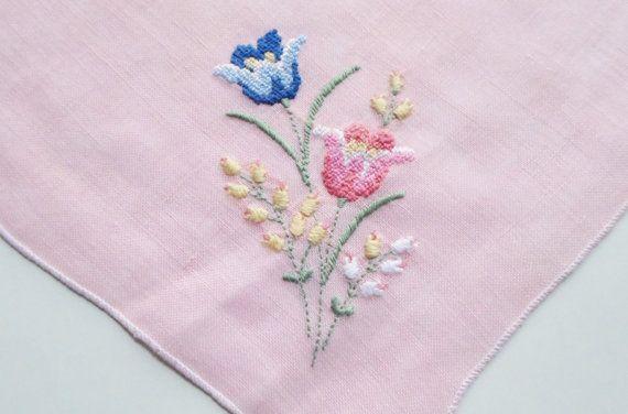 Handkerchief, Vintage Hankies, Handkerchiefs, Embroidered Flowers, 1950s, Pink, Blue, Hankerchiefs, Hankerchief, Hankie, All Vintage Hankies via Etsy