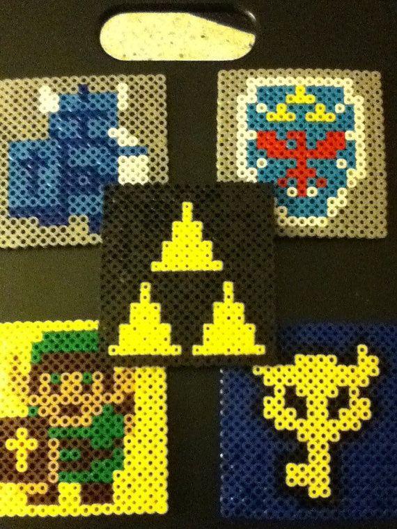 Zelda Tri Force 8 bit Coasters Nintendo Perler by ValeriasMarvels, $15.00