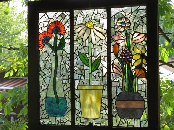 3 pane mosaic window - glass on glass