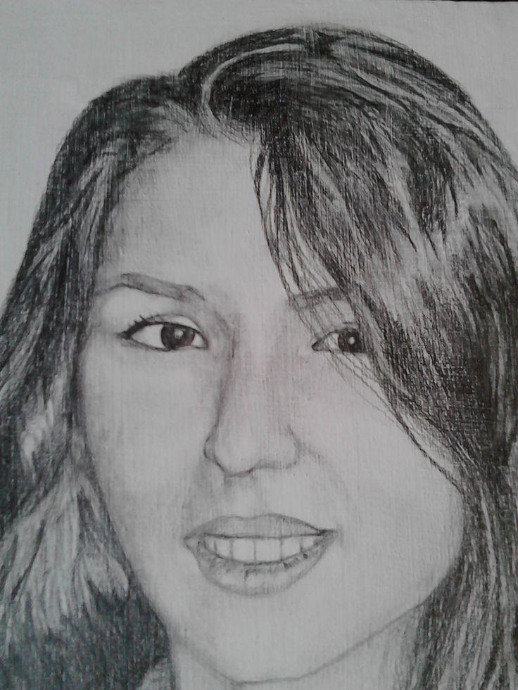 Female portrait on canvas, graphics //portret feminin pe panza,grafica.