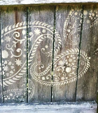 "Fan Rave! Kerrie says, ""Love your Vintage Paisley stencil!! Looks very cool on my fence!!"" Give her a big '+1' for her stenciling creativity!  Love it? Get it! http://www.cuttingedgestencils.com/paisley-stencil-vintage.html  #cuttingedgestencils #stencils #wallstencils #stenciling"