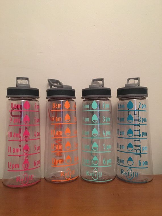 Measured 22 oz Tritan Water Bottle. BPA free. Labeled with times. Monogrammed initials or name in the back. Choice of vinyl colors. You can choose to