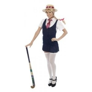 Adult Ladies Sexy Highschool, School Girl Fancy Dress Costume with Straw Hat. One Size Costume But Usually Fits Sizes 8, 10, 12 And 14.: Amazon.co.uk: Toys & Games