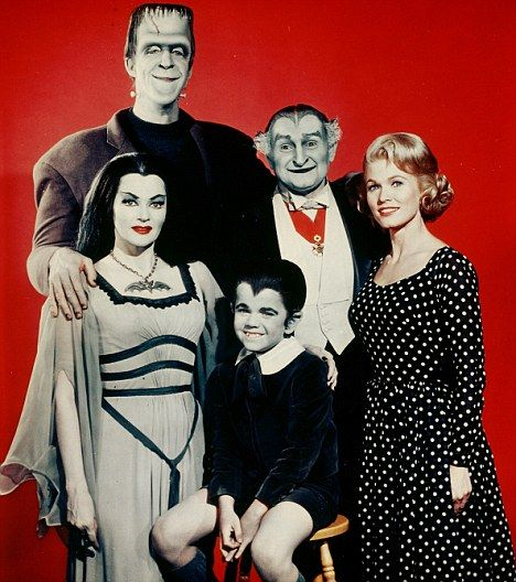 The Munsters: Yvonne DeCarlo as Lily Munster, Fred Gwynne as Herman Munster, Butch Patrick as Eddie Wolfgang Munster, Al Lewis as Grandpa, Pat Priest as Marilyn Munster in the CBS show that ran from 1964 to 1966.