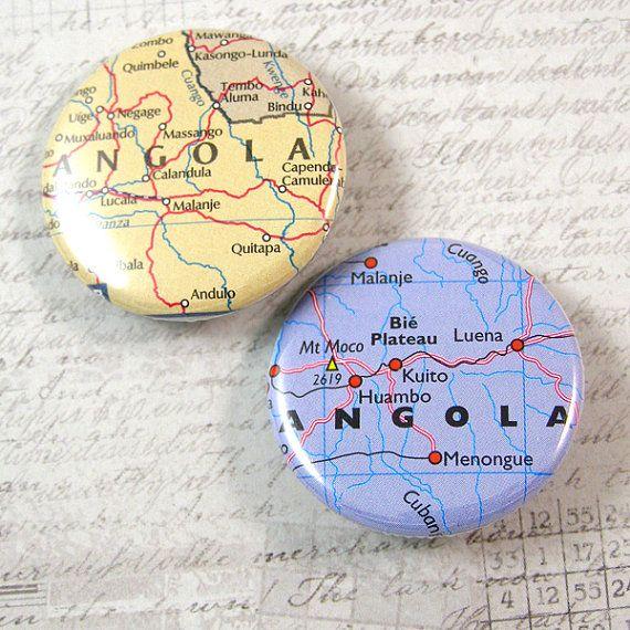 Angola Map Pinback Button Set by XOHandworks