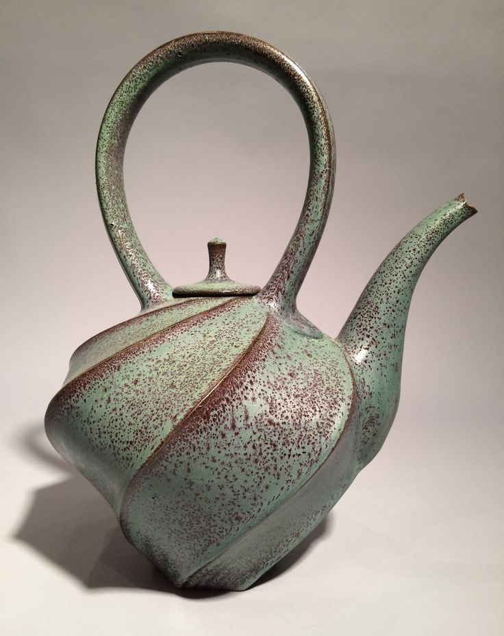 Jim Connell's Red/Green carved teapot