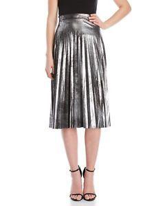 Romeo and Juliet Couture Women's Metallic silver Pleated Midi Skirt sz M  | eBay