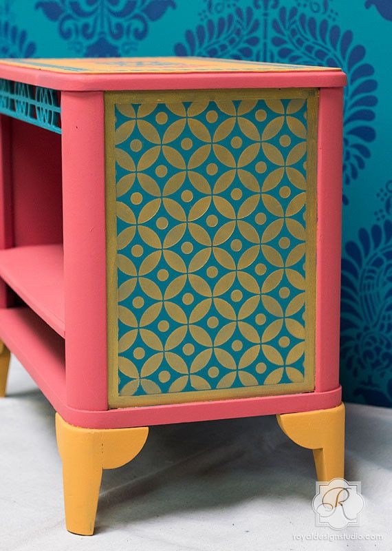 Jali Allover Indian Furniture Stencil   Indian Stencils Collection by Royal Design Studio