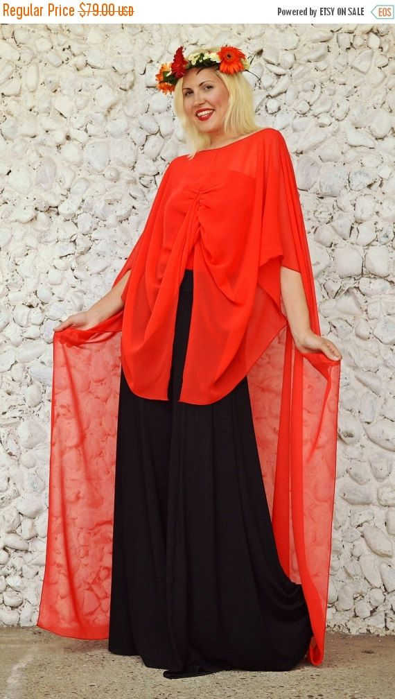 ON SALE 25% OFF Extravagant Red Top / Long Summer Top / by Teyxo