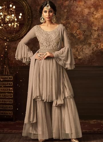 bea4d6f754 Light Grey Embroidered Net Sharara Suit | I love it | Sharara suit ...