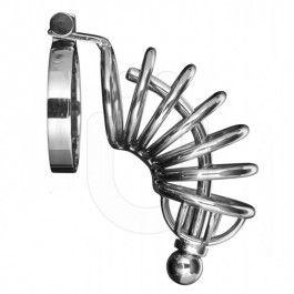Hinged cock ring designOptional through hole penis plugStainless steel ring designFor maximum security