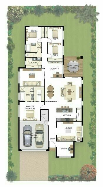Separate living spaces plus no bedrooms at the front of the house