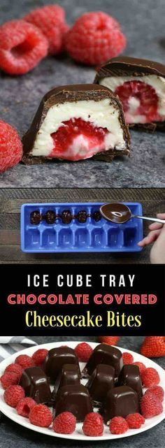 Raspberries Stuffed in smooth and creamy mini cheesecake bites, and then covered by chocolate. The ice cube tray makes it so easy and fun to make! All you need is a few simple ingredients: raspberries, chocolate, cream cheese, sugar, vanilla and whipped c