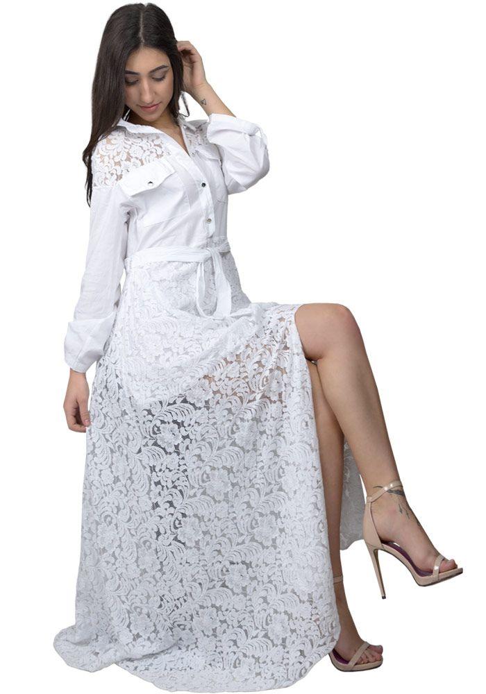 9036834630e Φόρεμα maxi πουκάμισο με δαντέλα | DRESS | Πουκάμισα, Το φόρεμα και ...