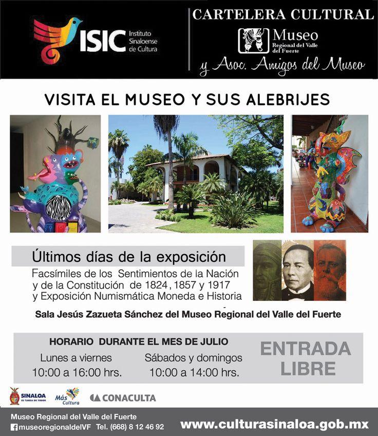 Te compartimos la Cartelera Cultural del Museo Regional del Valle de El Fuerte, en Los Mochis