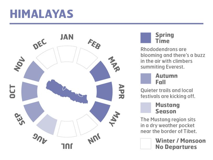 Here's a cool infographic giving you some idea of the best time of year to visit the Himalayas. #everestbasecamp #himalayas #nepal