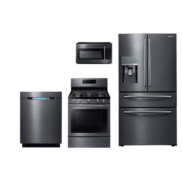 awesome 3 Piece Kitchen Appliance Set #6: Samsung Black Stainless Steel 4 Piece Kitchen Appliance Package