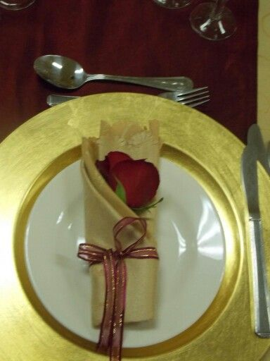 Gold with a red Rose inserted