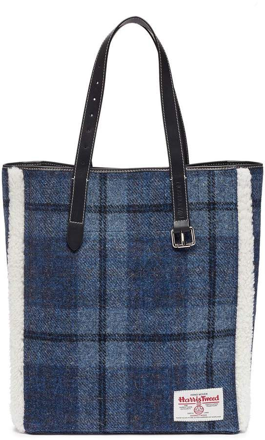 c7ae50891824 J.W.Anderson  Tartan Belt  shearling trim check plaid Harris tweed tote