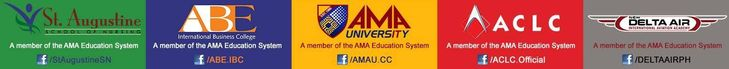 What are the schools under the AMA Education System? AMA University and Computer Colleges AMA Computer Learning Center St. Augustine School of Nursing ABE International Business College New Delta Air International Aviation Academy-AMA If you want to know more about these schools, check out their respective Facebook pages.