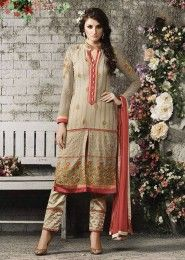 Party Wear Beige Georgette Embroidered Work Churidar Suit