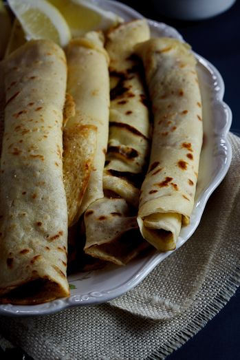 Panekoek (Pancakes)  South Africa.   Filled with cinnamon & sugar