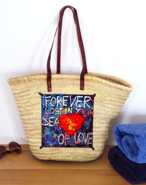 FOREVER LOST IN YOUR SEA OF LOVE  super large & durable beach bag , with natural fiber and leather handles. Decorated with original artwork printed on plexiglass.  dimensions : 36 cm height, 57 cm width,