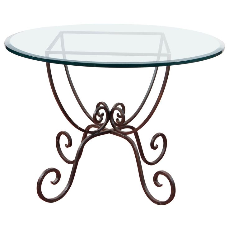 Iron and Glass Round Garden Table | From a unique collection of antique and modern garden furniture at https://www.1stdibs.com/furniture/building-garden/garden-furniture/