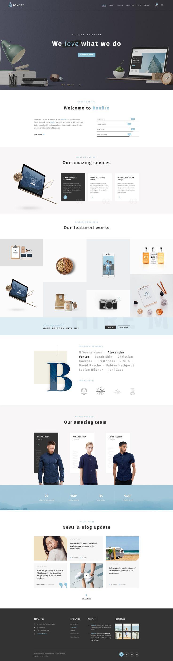 Bonfire - Creative Multi-Purpose PSD Template #multipurpose #portfolio #shop • Download ➝ https://themeforest.net/item/bonfire-creative-multipurpose-psd-template/19267643?ref=pxcr