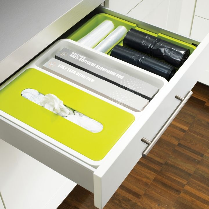 Fits inside your drawers giving you space to store plastic bags, rolls of foil or wrap, and garbage bags.  Joseph Joseph DrawerStore™ Cutlery Tray | Expandable drawer organisers trays
