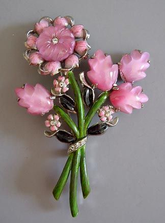 CORO satiny carved glass pink roses brooch