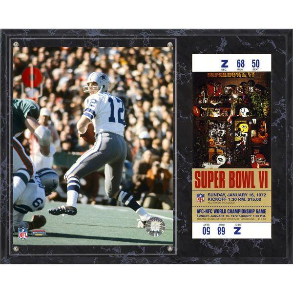 "Roger Staubach Dallas Cowboys Fanatics Authentic 12"" x 15"" Super Bowl VI Sublimated Plaque with Replica Ticket - $39.99"
