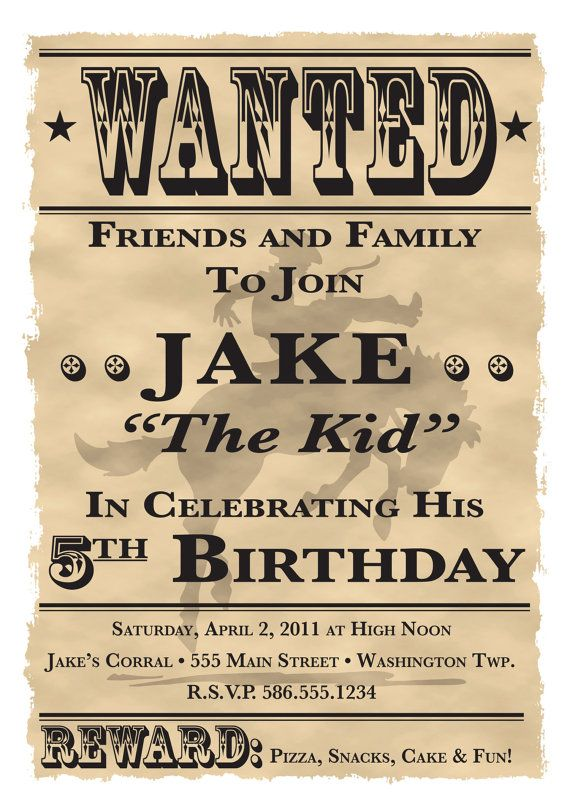 wanted poster cowboy western theme birthday party invitation 5 x